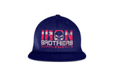 Blue Iron Brothers Snapback Cap Hat With Red Company Logo At The Front