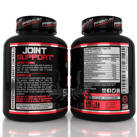 Iron Brothers Supplements Joint support front bottle with logo- Black and red