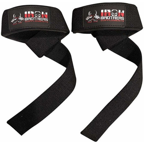 Main Front Image Of Black Iron Brothers Lifting Straps Pair With Company Logo