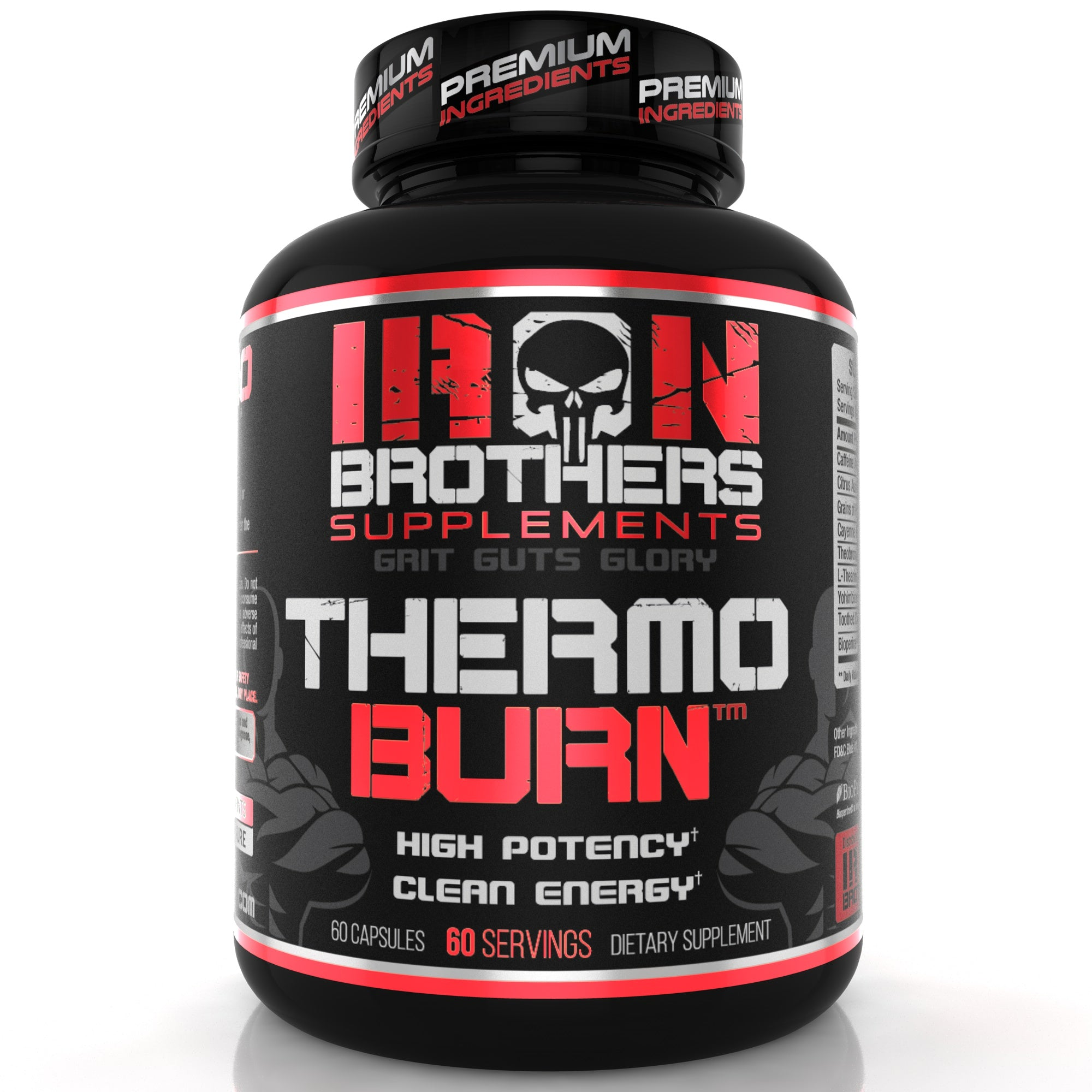 A bottle of Iron Brothers Supplements High Potency ThermoBurn in Black Capsules