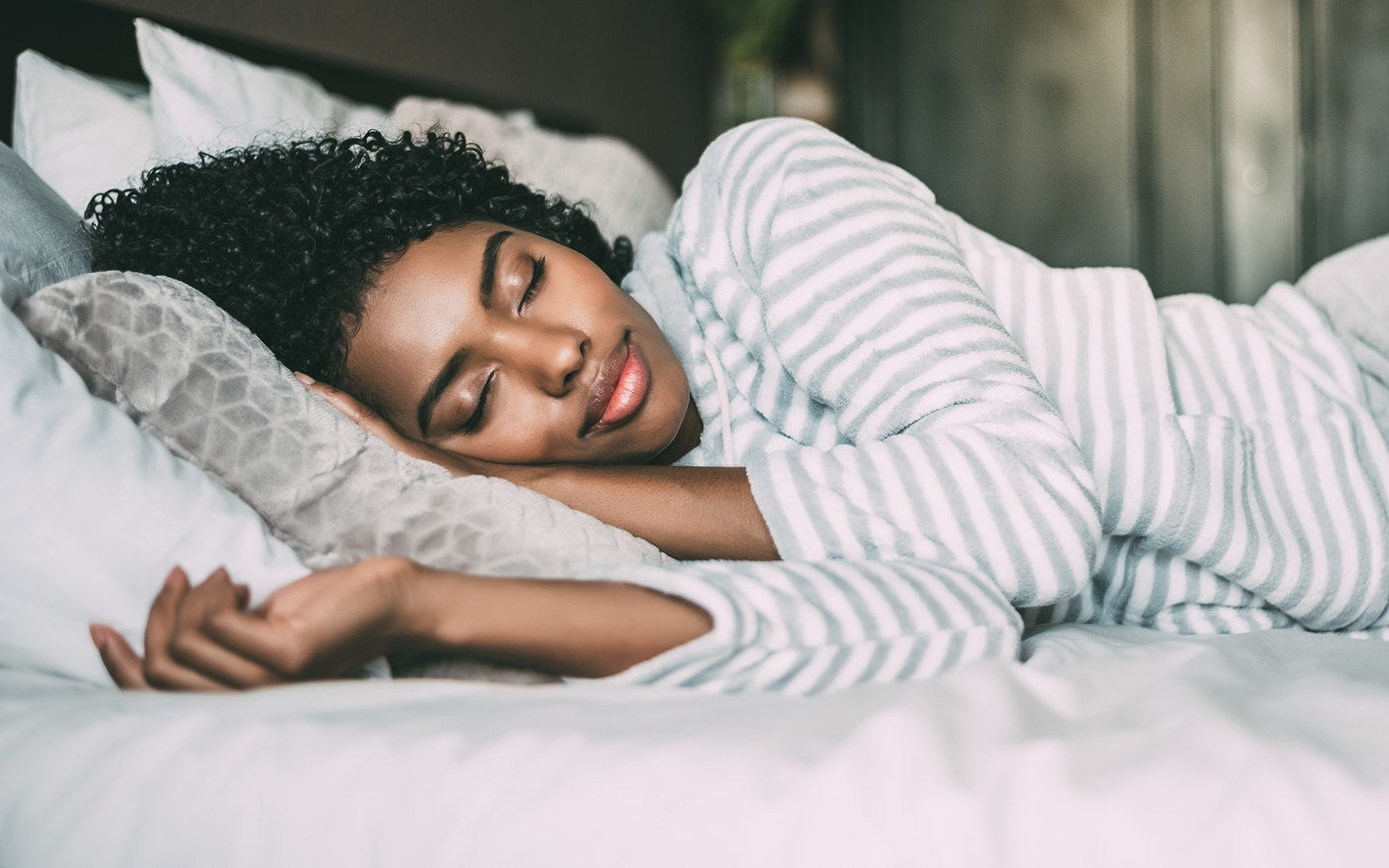 woman sleeping peacefully on her side