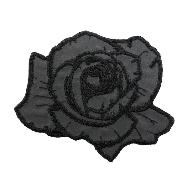 Black Reflective Rose Patch