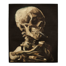 Head of a skeleton with a burning cigarette backpatch
