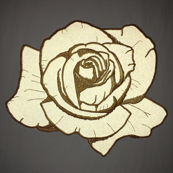 Reflective Gold Rose Back Patch