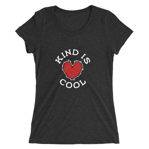 Kind is the new cool. Feel it. Be it. Make the world a better place (available in charcoal black and white fleck tee)
