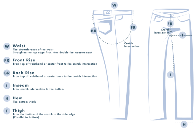 Measurement Guide:  Waist: The circumference of the waist. Straighten the top edge first, then double the measurement. Front Rise: From top of waistband at center front to the crotch intersection Back Rise: From top of waistband at center back to the crotch intersection Inseam: From crotch intersection to the bottom Hem: The bottom width Thigh: From the bottom of the crotch to the side edge (Parallel to bottom)