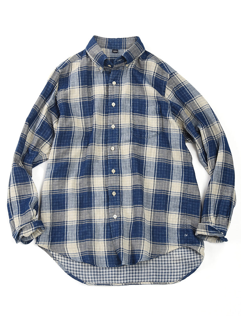 Indigo Double Woven Shirt in Check