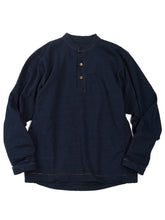 Indigo Cotton Henley Neck Long Sleeve T-Shirt