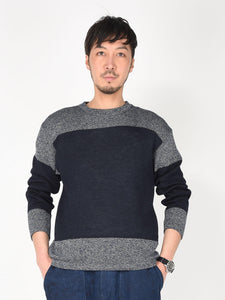 Men's Indigo Basque Border Knitted Long Sleeve