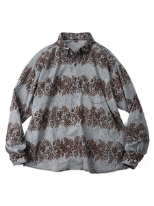 Dungaree Print Pull Shirt in Brown