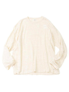 French Linen Blend Super Gauze Long Sleeve Knit T-Shirt in White Tweed