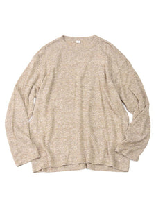 French Linen Blend Super Gauze Long Sleeve Knit T-Shirt in beige Tweed