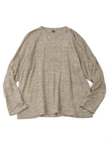 French Linen Blend Super Gauze Long Sleeve Knit T-Shirt in Khaki Tweed