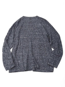 French Linen Blend Super Gauze Long Sleeve Knit T-Shirt in Navy Tweed
