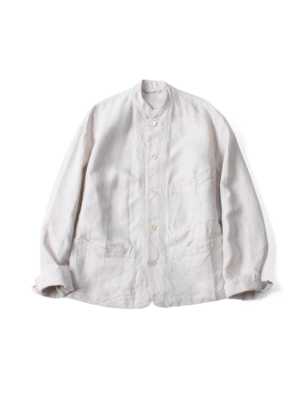Linen Stand Jacket in White