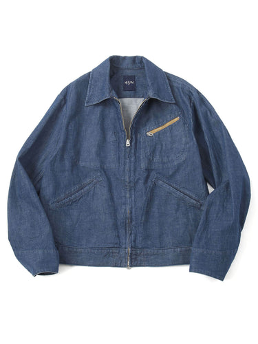 Cotton Denim Jacket Distress in indigo