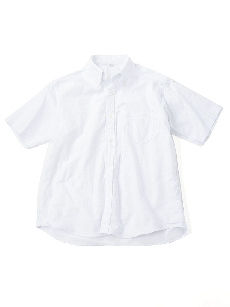 Cotton Oxford Embroidery Short Sleeve Shirt in white