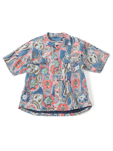 Cotton Denim Aloha Print Short Sleeve Shirt in indigo