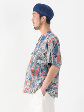Cotton Denim Aloha Print Short Sleeve Shirt