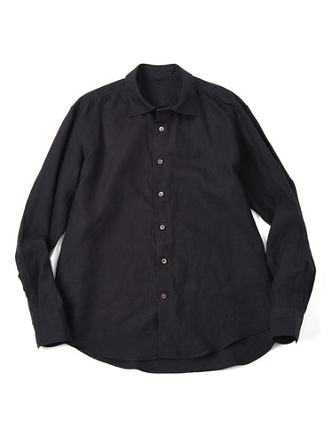 Linen After Dye Reuglar Shirt in Black