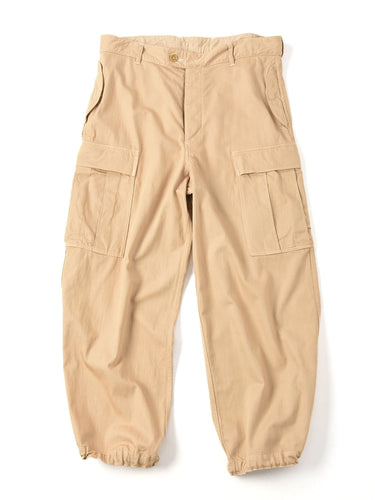 Goma Chino Cotton Joppan Cargo Pants on beige