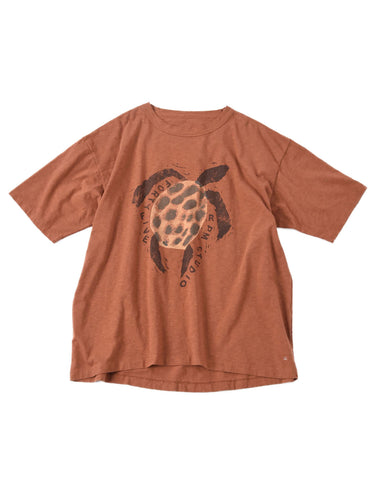 Ocean Story Zimba Cotton Print Short Sleeve T-shirt (Turtle) in brown