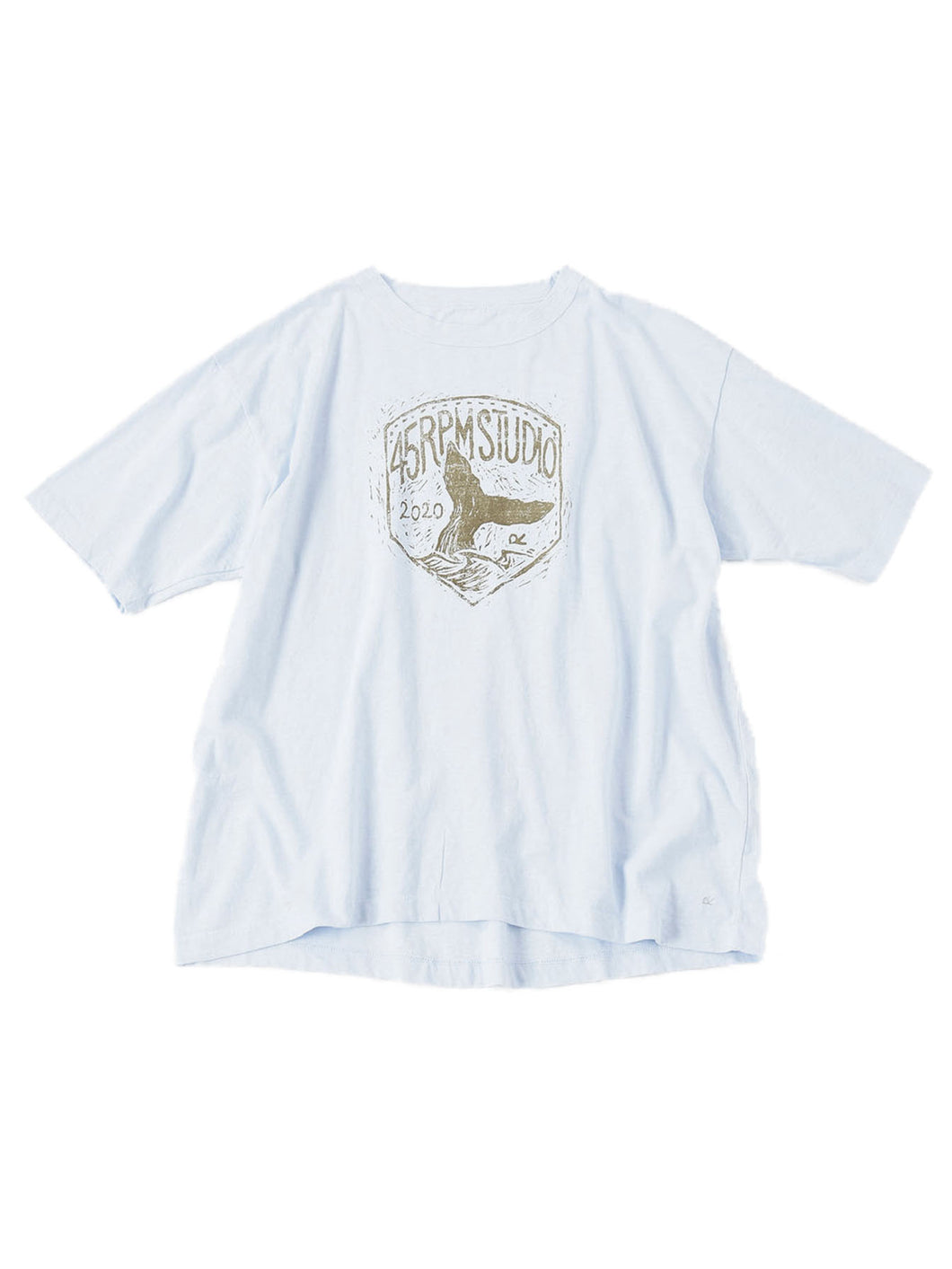 Ocean Story Zimba Cotton Whale Print Short Sleeve T-Shirt in light blue