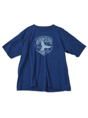 Indigo Ocean Story Zimba Cotton Whale Print Short Sleeve T-Shirt in indigo