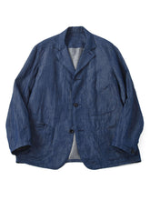 Cotton Linen Goma Denim Shirt Jacket in biaude indigo