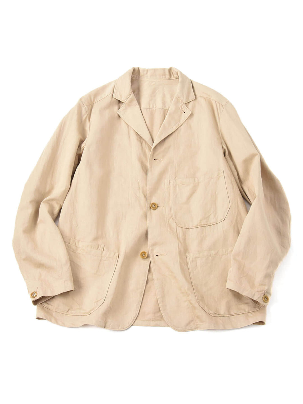Cotton Linen Goma Chino ST Jacket in beige
