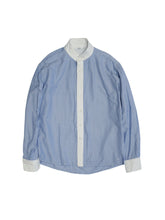 Oxford Stand Shirt in Blue Stripe