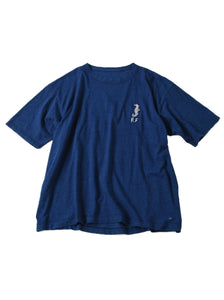 Indigo Ocean Story Zimba Cotton Embroidery Short Sleeve Ocean T-shirt (Seahorse) in indigo