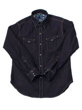 Ai Nando Awa Satin Cotton Eastern Shirt One Wash in ai indigo