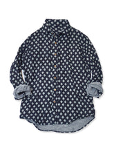 Indigo Double Gauze Print Shirt in Diamond Dots