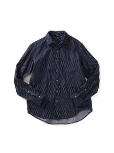 Indigo Double Gauze Print Shirt in Mountain Dots