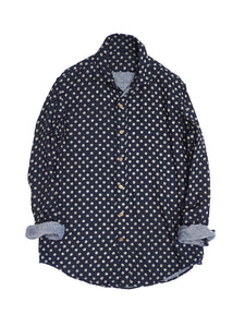 Indigo Double Gauze Print Shirt in Dots