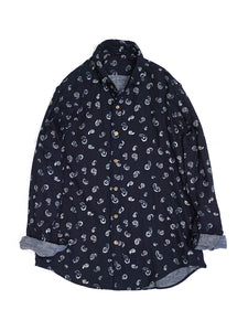 Indigo Double Gauze Print Shirt in Paisley