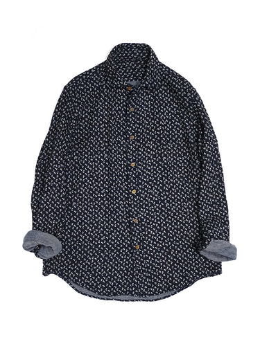 Indigo Double Gauze Print Shirt in Small Flower