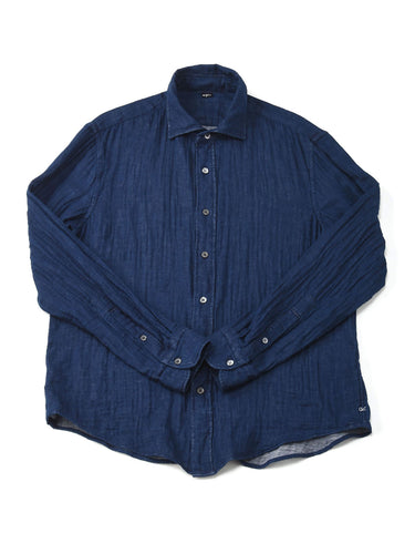 SA Indigo Double Woven Cotton Regular Shirt in indigo