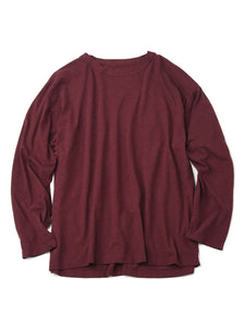 Zimba Cotton Long Sleeve Ocean T-shirt in dark red