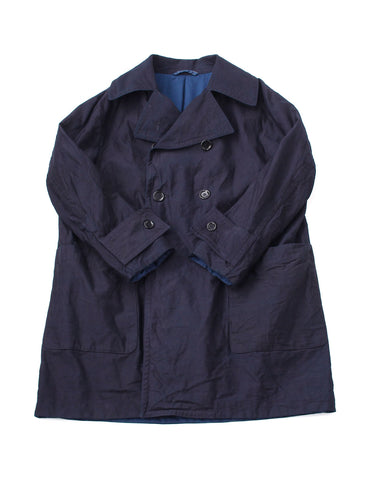 Ai Nando Okome Satin Cotton Hayama Coat in ai indigo (S)