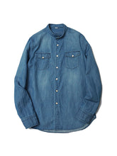 Goma Denim Stand Eastern Shirt in Distressed Indigo