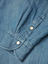 Cotton Linen Denim Stand Collar Eastern Shirt Distressed