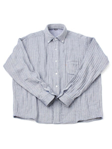 Indian Double Woven Cotton Flannel Ocean Button Down Shirt in herringbone