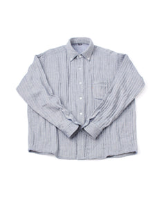 Indian Double Woven Cotton Flannel Ocean Button Down Shirt in herringbone (S)