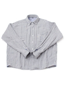 Indian Double Woven Cotton Flannel Ocean Button Down Shirt Chidori Koushi