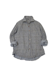 Indigo Double Woven Flannel Regular Check Shirt in Glen Check