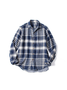 Indigo Double Woven Flannel Regular Check Shirt in Big Check