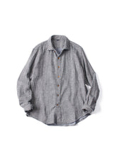 Indigo Double Woven Flannel Regular Check Shirt in Houndstooth