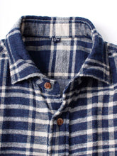 Indigo Cotton Double Woven Flannel Regular Check Shirt